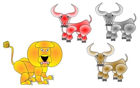 lion-three-bulls